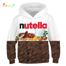3D Print Nutella Food Chicken Pizza Girls Boys Hoodies Kids Hooded Sweatshirts Clothes 2019 Fall Long Sleeve Pullovers Tops Teen