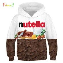 Moletom com capuz para pizza e meninos, blusão pulôver de manga longa com estampa 3d nutella comida para meninos e meninas, outono 2019