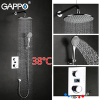 GAPPO shower faucet thermostatic mixer tap LCD Digital Display bath faucet mixer hand shower Wall Mount rainfall shower set