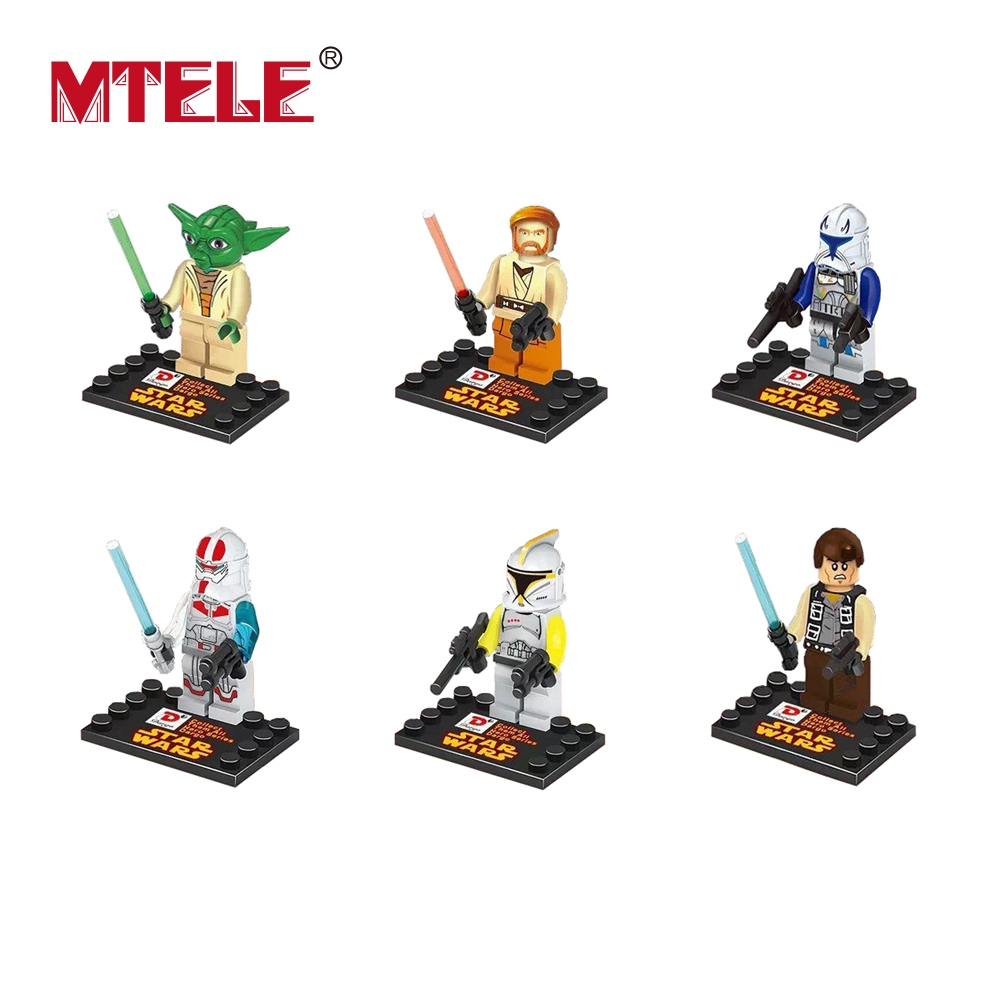 MTELE Brand 6pcs lot Star War Figure movie Super Hero Kid Baby Toy Building Blocks Sets