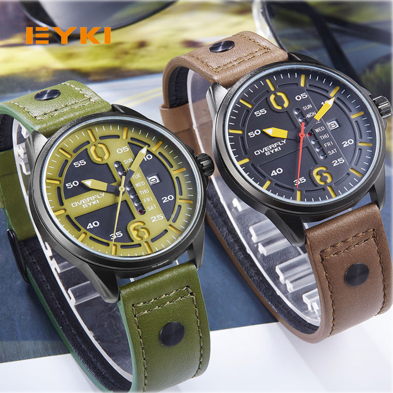 EYKI Men Genuine Leather Strap Wrist Watch Luxury Casual Big Dial Quartz Watches Relogios Masculino Waterproof Military Watch eyki casual retro vintage watch men women luxury brand quartz dress watches clock leather men s wristwatch relogios masculino