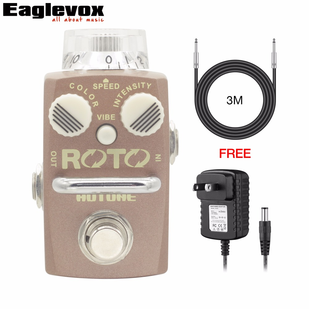 Hotone ROTO Rotary Speaker Simulator Electric Guitar Effect Pedal Fresh-Vibe Pedal with Free Power Adapter and 3m Cable hotone brand soul press wah volume expression crybaby pedal electric guitar pedal free shipping