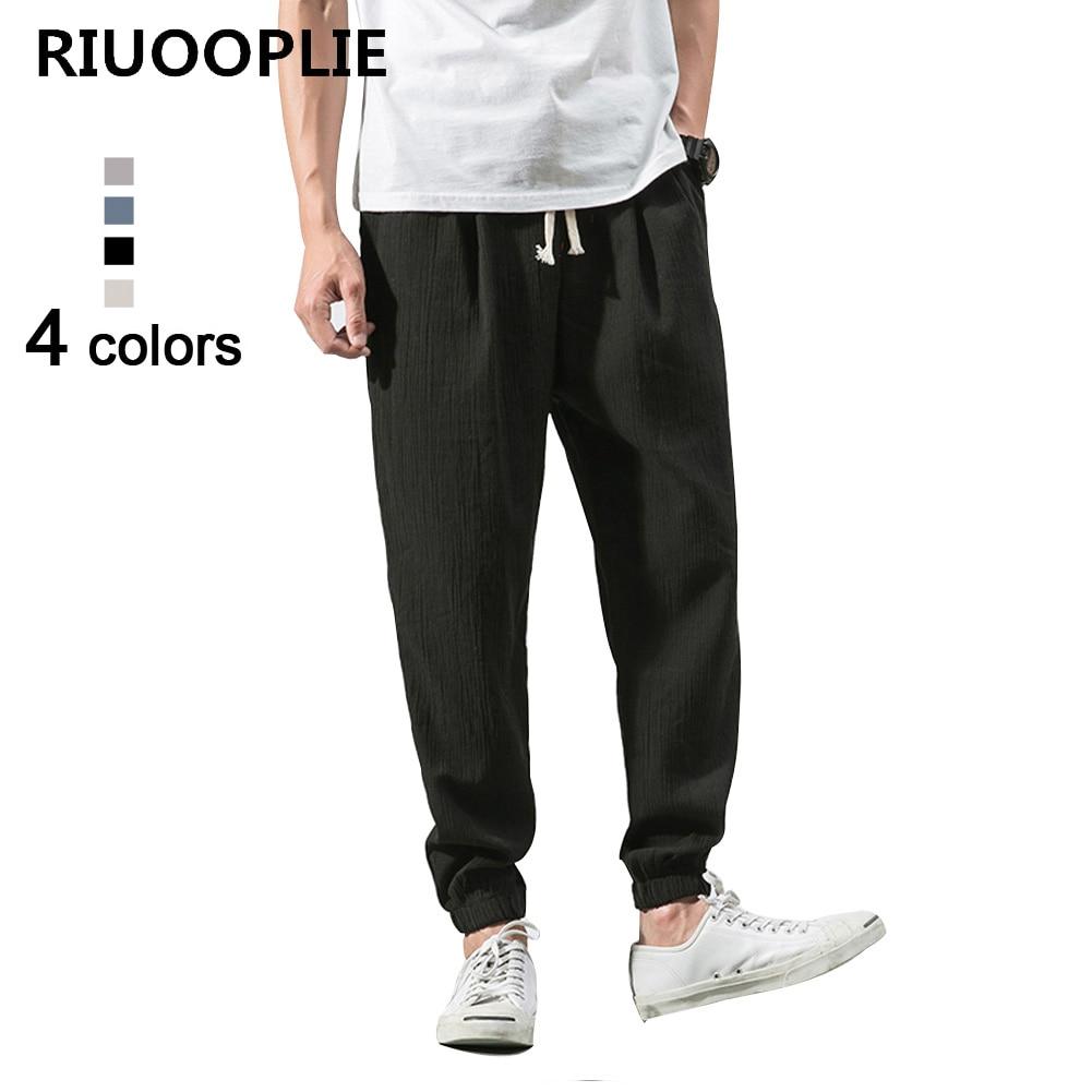 RIUOOPLIE Pants Trousers Lantern Elastic-Waist Loose Cotton Linen Haren Casual Reto Men