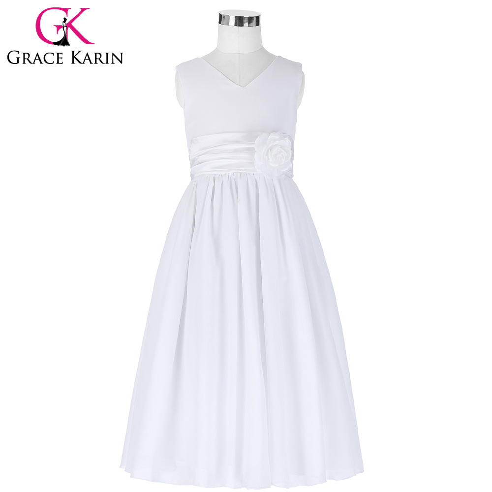 Grace Karin White Flower Girl Dresses Pageant Gown Chiffon Girls ...
