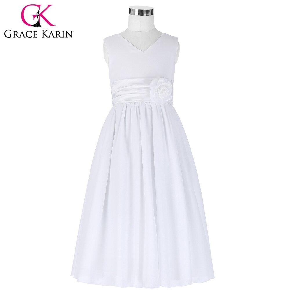Grace karin weiße blume mädchen kleider pageant kleid chiffon ...