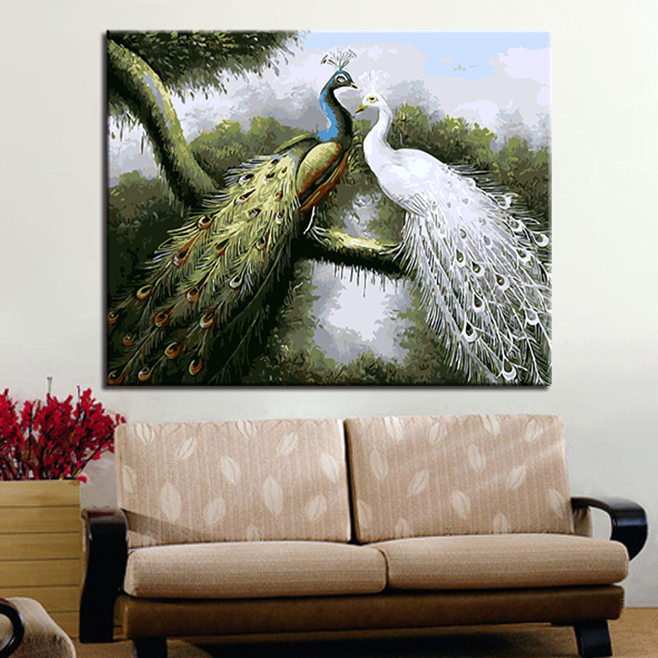 Us 9 45 32 Off Diy Painting Acrylic Kits Drawing By Numbers Beautiful Peacock Frame Wedding Decoration Wall Art Canvas Popular Canvas Picture In