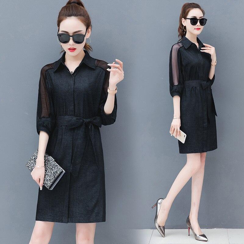 Dress female spring and autumn 2019 new fashion commuter slim strapless denim dress tide vestido Q280 4