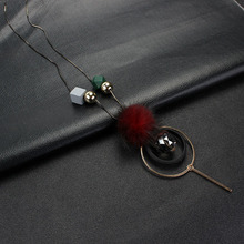 New women necklace mink fur Ball pompom long necklaces & pendants geometry wood beads for sweater chain winter jewelry
