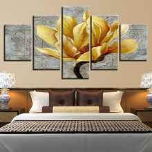 цена на Canvas HD Prints Pictures Home Decor Framework 5 Pieces Golden Yellow Flowers Paintings Gold Orchid Posters Living Room Wall Art
