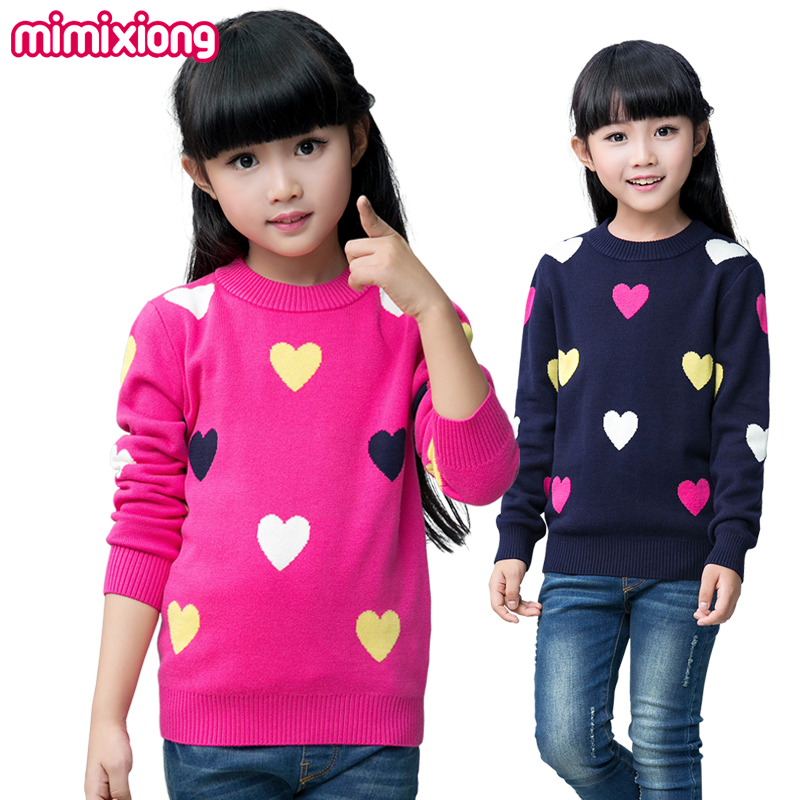 2017 Winter Girls Clothing Colorful Sweet Heart Knit Children Sweaters Autumn Casual Kids Knitwear Long Sleeves