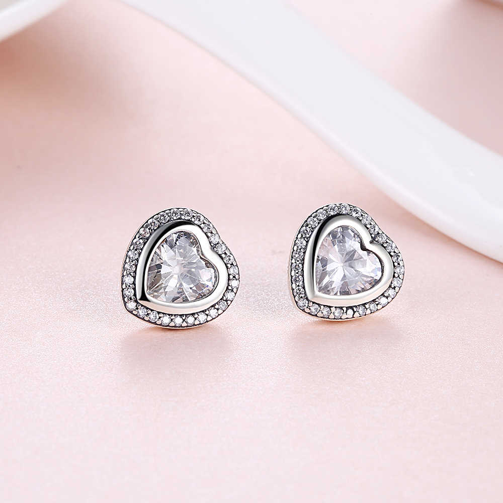 86af31980 ... Original 925 Sterling Silver Sparkling Love pan Stud Earrings For Women  With Clear Cz Sterling- ...