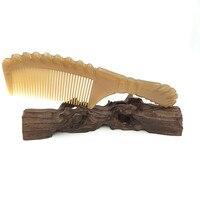 Main-fait Boutique Sculpté Naturel Yak Corne Peigne Démêlant Brosse À Cheveux Soins Des Cheveux Accessoires avec Livraison Pochette en Velours L-144