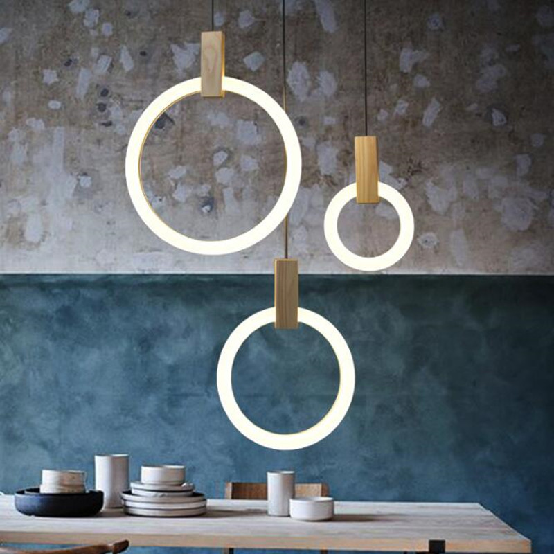 Nordic Art Creative Living Room Pendant Lamp Circle Ring Solid Wood Restaurant Designer Light Hotel Bedroom Decoration LED Light high quality led modern minimalist crystal pendant lamp light luxury living room bedroom art creative restaurant hanging lights