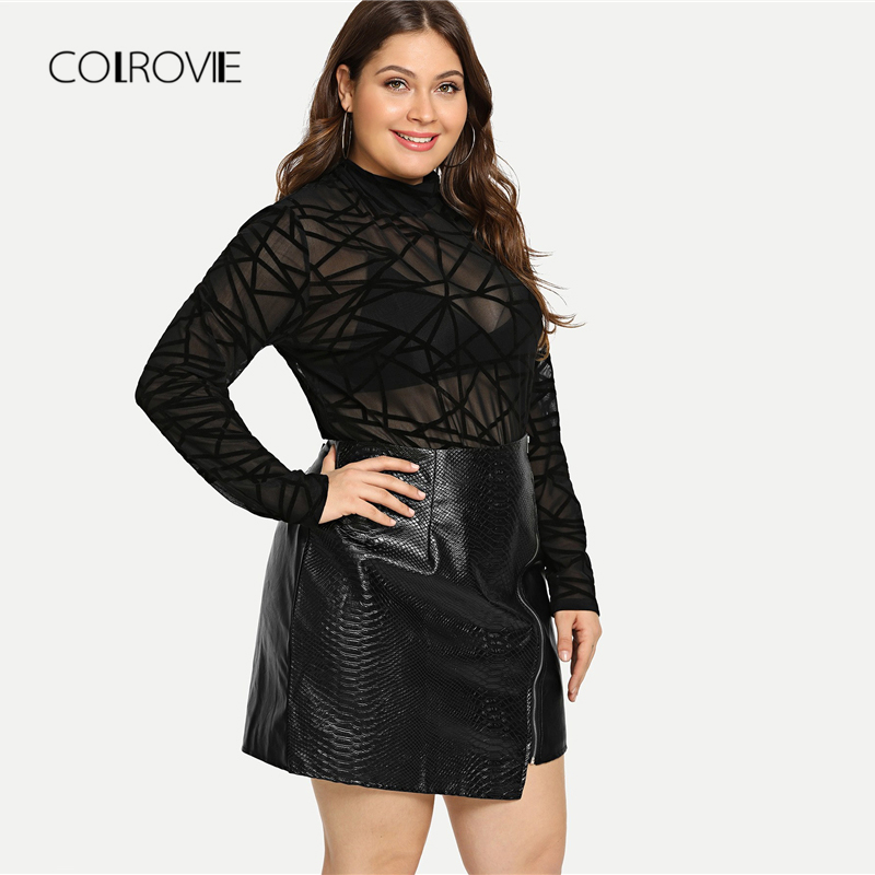 Image 4 - COLROVIE Plus Size Black Solid Zipper Sexy Korean Leather Skirt Women Autumn Female Office A line Elegant Mini Skirts-in Skirts from Women's Clothing