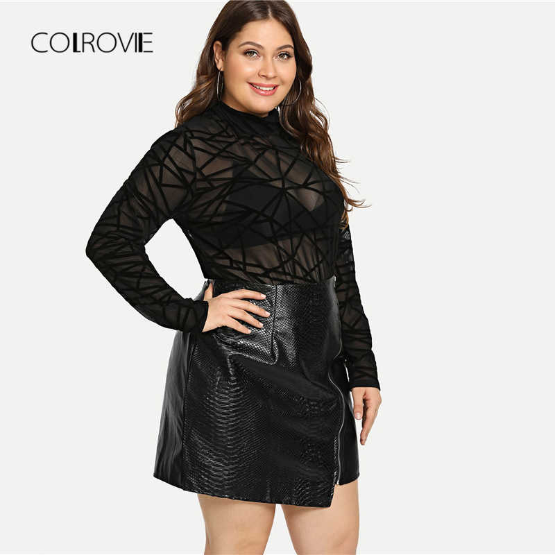 COLROVIE плюс размер черная однотонная молния Сексуальная Корейская кожаная юбка Женская Осенняя офисная трапециевидная элегантная мини-юбка