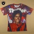 2015 новые моды для мужчин/женщин 3D футболки графический печати Майкл Джексон с коротким рукавом summrt футболку повседневная топы