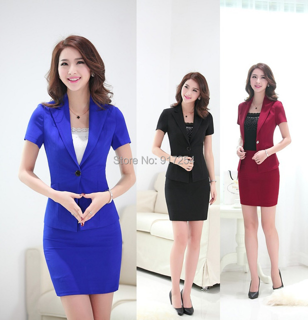 Primavera Verão 2015 nova Formal Uniforme Azul Estilo de Moda Uniformes de Trabalho Das Mulheres Ternos com Saia e Blazer Ladies Escritório Blazers