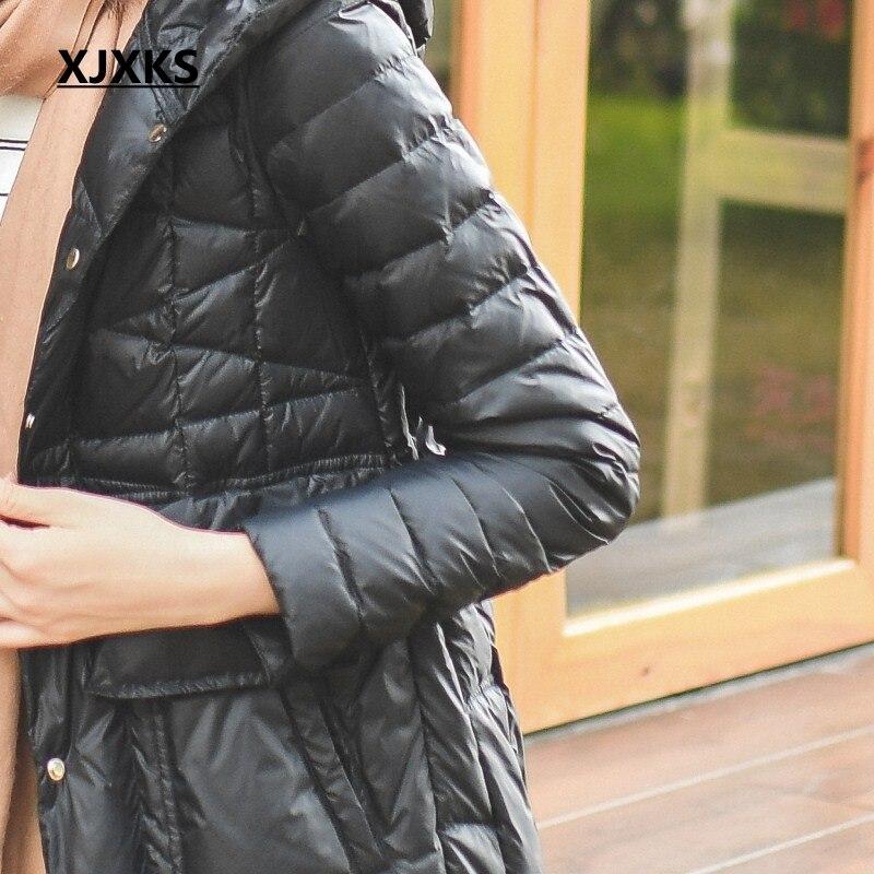 Femmes Capuche Confortable Veste De Haute Manteau Xjxks Mode Conception À D'hiver Beige Parkas Nouvelle 2019 Marque Femme bleu Qualité Hiver noir 0qqwZz7T