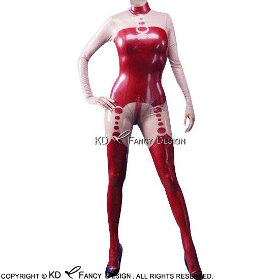Bébé rose avec rouge Sexy Latex Catsuit avec pieds chaussettes retour à l'entrejambe fermeture éclair en caoutchouc Body Zentai ensemble corps costume LTY-0077