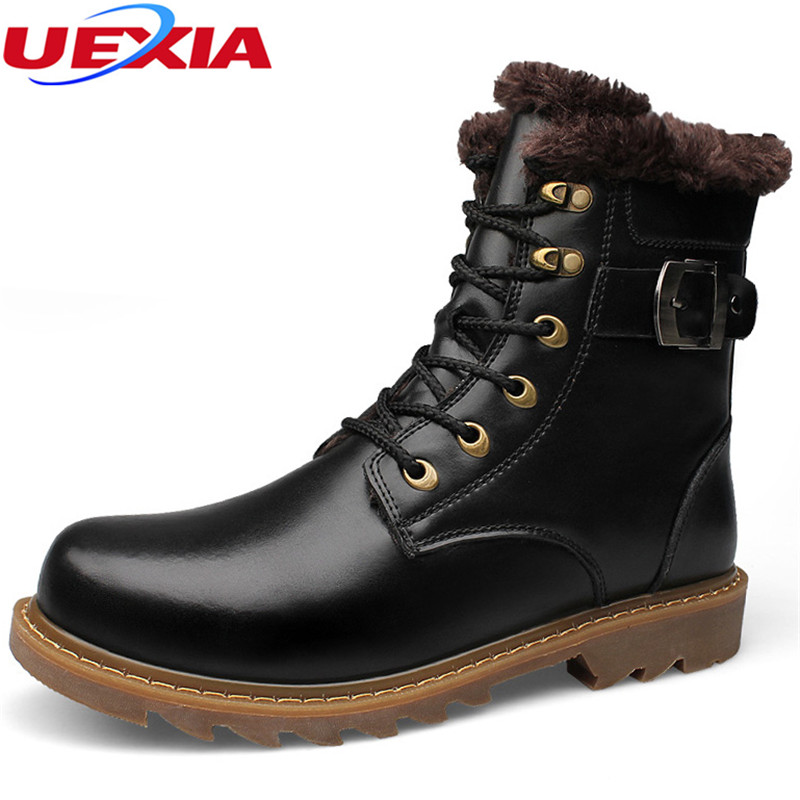 UEXIA Unisex Leather Winter Shoes Men Walking Handmade Russian style Plush Warm Boots High Quality Ankle Snow Boots Plus Size 47 men winter super warm ankle boots handmade genuine leather high quality brand plush snow shoes casual russian style boots men