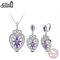 Effie Queen Pure Sterling Silver Pendant Necklace & Drop Earring Jewelry Set with Purple Zircon for Women Engagement Party DSS03