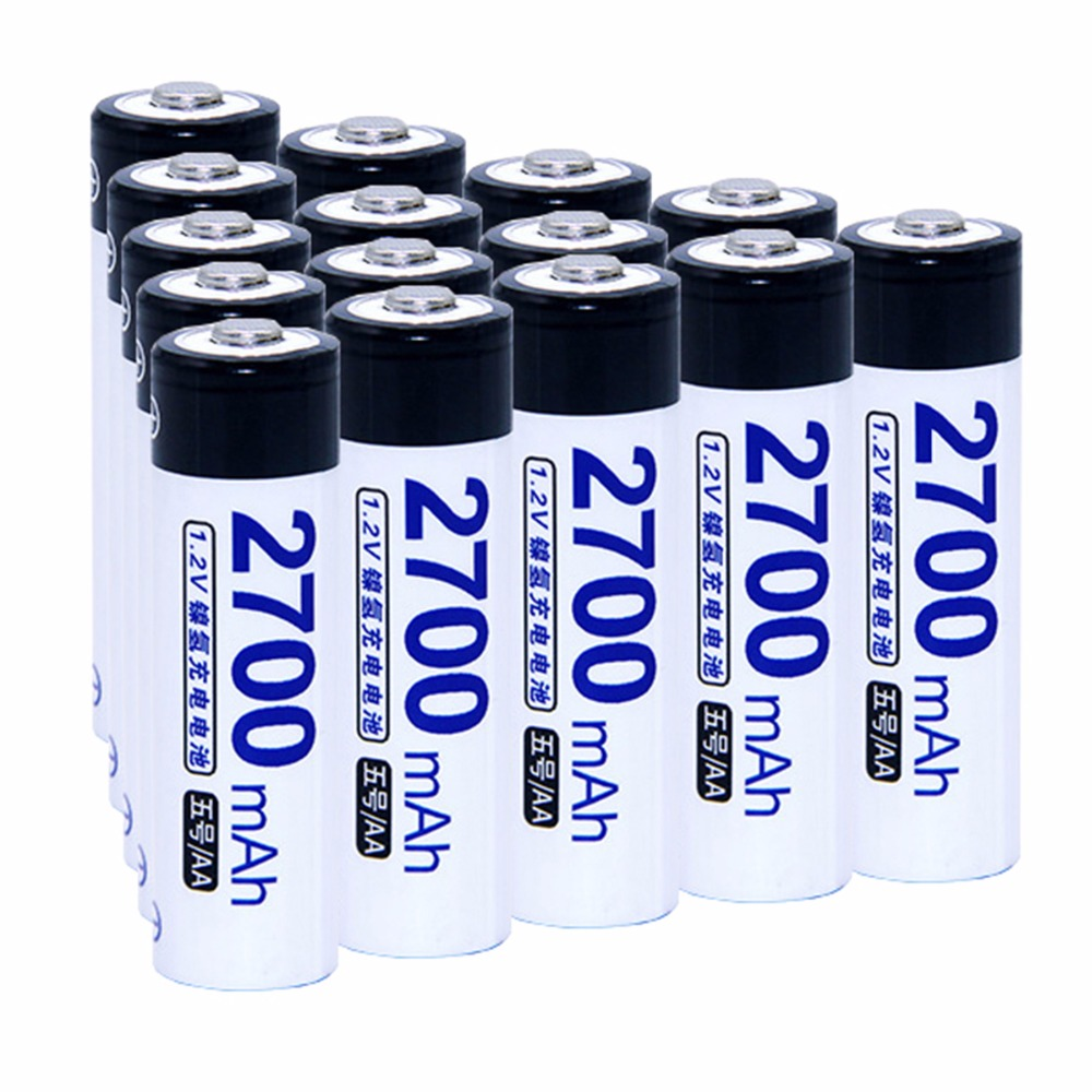 True capacity! 15 pcs AA 1.2V NIMH AA rechargeable batteries 2700mah for camera razor toy remote control flashlight 2A batterie