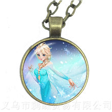 Dreamy Snow Queen 60 + 5cm collar largo Elsa Anna Hada princesa cristal cabujón collares colgantes para niñas personalizable(China)