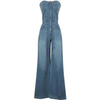 Ολόσωμο μπλε τζιν σαλοπέτα φόρμα με ψηλή μέση φαρδύ πόδι.