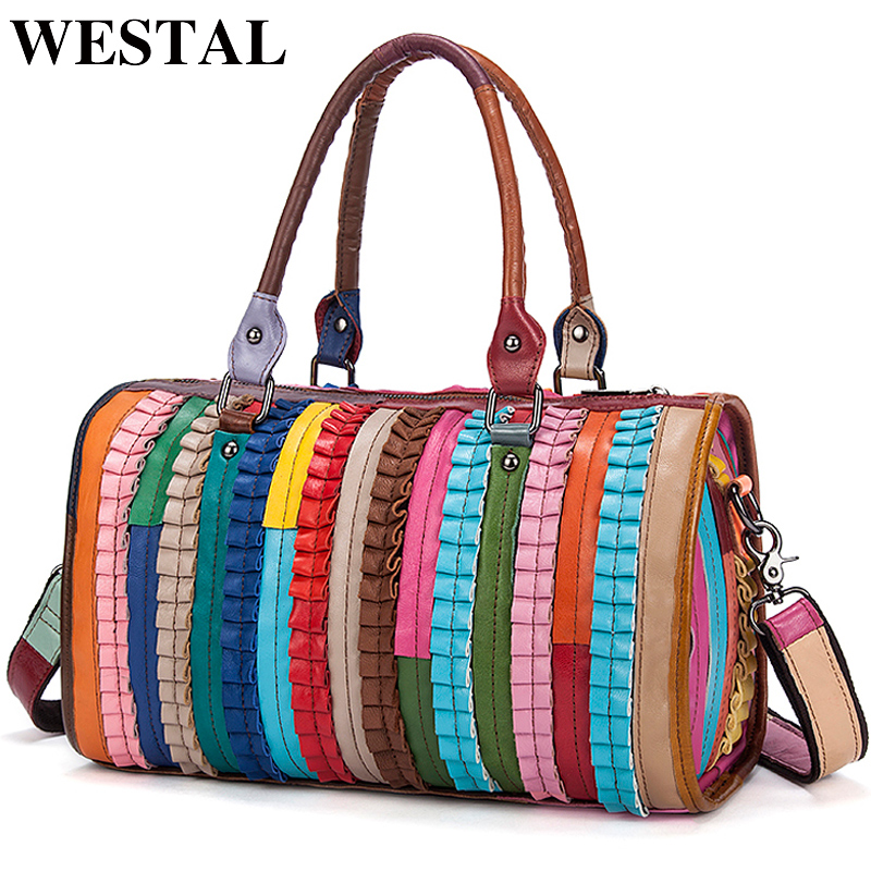 WESTAL Colorful Women Bag ladies Genuine Leather Handbag Stripe Totes Crossbody Bags Women Shoulder Bag Female Messenger Bags caerlif brand genuine leather bag colorful stripe weave vintage national wind shoulder bags female bag women messenger bags