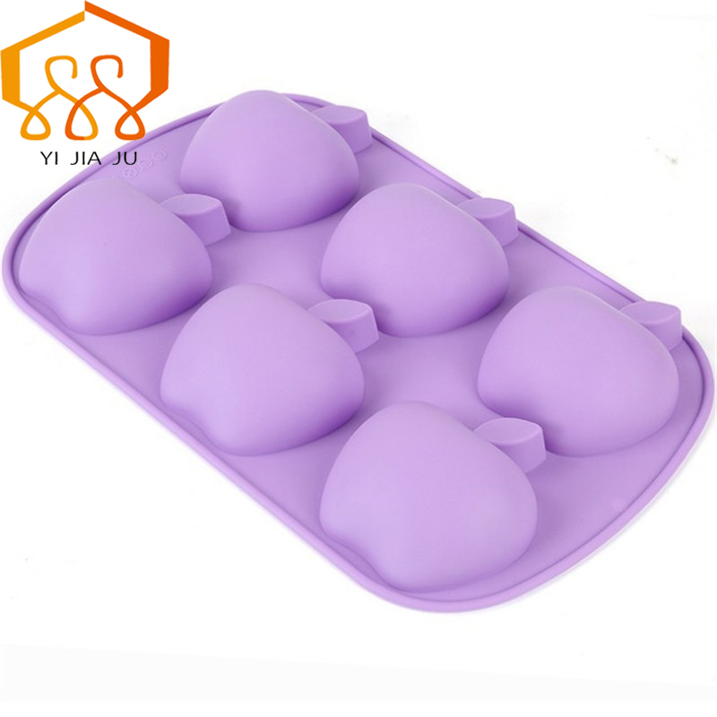 Cake Decorator Baking Tools Apple Shape Seks hullers Fondant Cake Silicone Mould Candy Jelly Chocolate Mør Gratis Levering