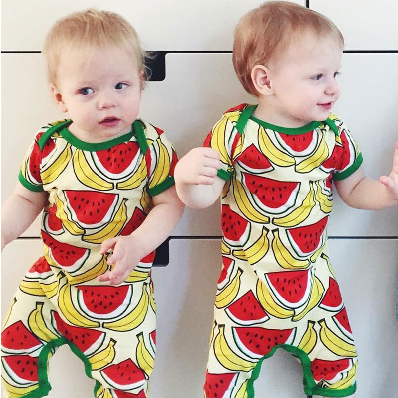 Newborn baby clothes boys girls rompers printed watermelon jumpsuits summer 2017 cottons newborn baby rompers infant clothing cotton baby rompers set newborn clothes baby clothing boys girls cartoon jumpsuits long sleeve overalls coveralls autumn winter