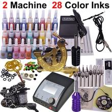 YLT-37 набор татуировки Полный инструмент татуировки Оборудование Набор стартера татуировки 2 машины 28 цветное звено