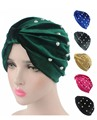 New luxury velvet Turban Headwrap fashion Hijab with full pearl jewelry