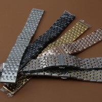 Wholesale Watch Band Polished Men 20mm 22mm Black Silver Stainless Steel Watch Strap Bracelet for luxury sport watch promotion