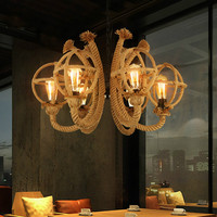 Пеньковая веревка люстра промышленного ветер Ресторан Бар 6 головок ностальгические магазин чайхана Лофт декоративные лампы ZA428159
