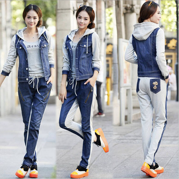 autumn suits set korean fashion women knit stitching denim hood jacket + pants casual 2 piece set women