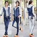 autumn suits set korean fashion women knit stitching denim hood jacket + pants casual sport set women