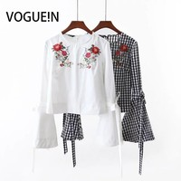 VOGUE N New Womens Ladies Spring Summer Floral Embroidered Long Flare Sleeve Blouse Shirt Tops White