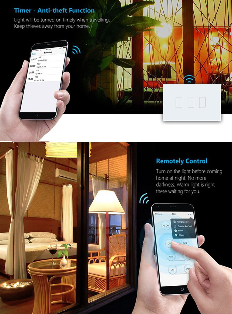 6 Broadlink TC2 1Gang 2Gang 3 Gang Touch Switch,US AU Standard Smart Home Automation,RF433 Wireless Wifi Control Light Wall Switch