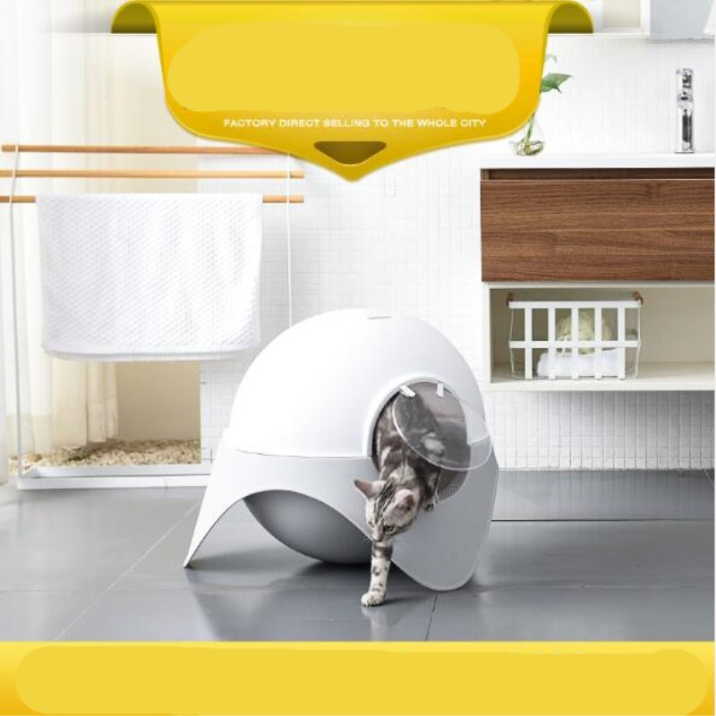Mascota Plastic Litter Box Closed Cat Toilet Space Capsule Pet Litter Box Cat Litter Box Dog Toilet Katzenklo 翻轉 貓 砂 盆