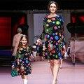 Женщины печати Девушки Одеваются Мать Дочь Платья Семьи Соответствующие Наряды Осень С Длинным Рукавом Рождество Семьи Сопоставления Одежда