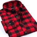 PROMOÇÃO DA MARCA! 2016 Novo estilo de Moda Casual Grade longo-sleeved dos homens camisas xadrez, estilos de moda Lazer lim fit camisa de flanela
