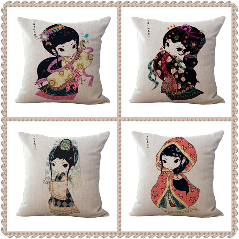 Maiyubo Beautiful Cartoon Sexy Lady Cushion Cove Retro Square Vintage high Qulity Chinese Style Pillow cushion The Pillows PC004