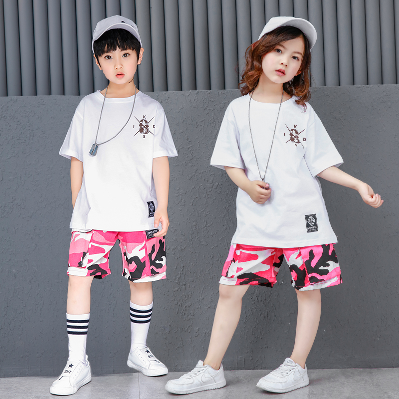 Children girl boy cotton pink Camouflage pants white T-shirt hip hop hiphop street dance costume performance uniform for kid