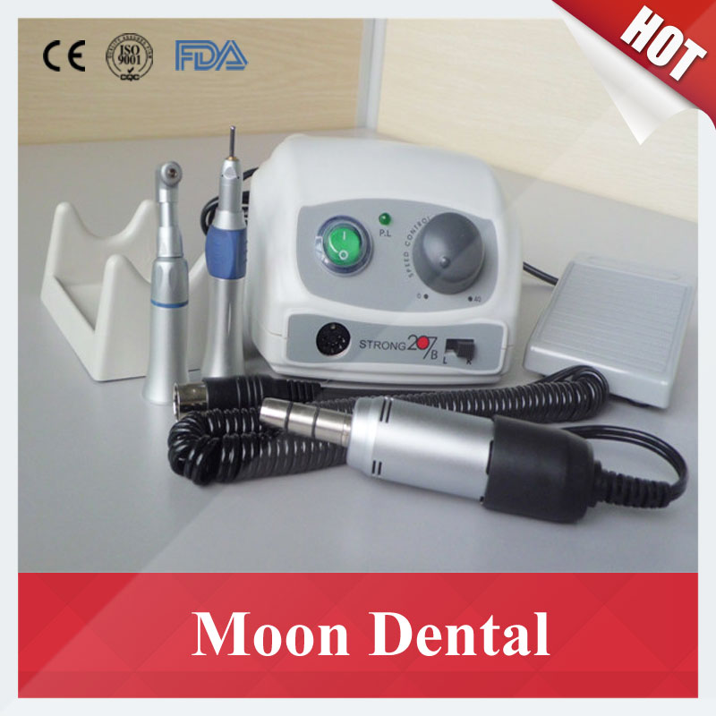 Popular SAESHIN Micromotor 35000 RPM Strong 207B+108E Dental Lab Micromotor with New Style 1:1 Contra-angle & Straight Handpiece dental lab polisher micromotor hand piece 35000 rpm for electric polisher strong 90 108e contra angle machine