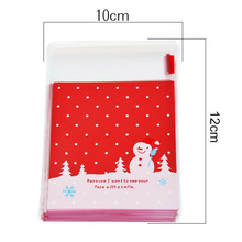 Christmas Decoration 50PCs Self-adhesive Plastic Bags Cookie Biscuits Food Bag Snack Baking Candy Bag Gift Bags Wedding Favor