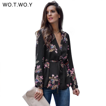 WOTWOY V-Neck Printed Floral Blouses Women Sashes Long Sleeve Blouse Shirts Women 2017 Casual Chic Tops Blusas Spring Autumn New