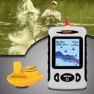 Image 5 - LUCKY Wireless Fish Finders Alarm echosonda do łowienia w rosyjskim przenośnym sygnalizator głębokości 45m z wyświetlaczem LCD FFW718