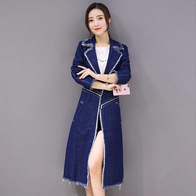 Y1060 Vestes vent 4xl Plus 2017 Longue Bavures Bleu Coupe Féminin Denim Automne Hiver Femme Manteaux Taille Long Printemps Grande Femmes Mince rStqSOHx