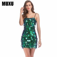 MUXU summer dress woman clothes fashion green sequin glitter dresses mini short vestido vestidos verano 2018 elbise sukienka new